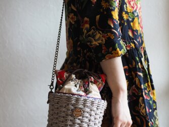 可愛い猫型台湾花柄の巾着かごバッグ(一点作品/送料無料)の画像
