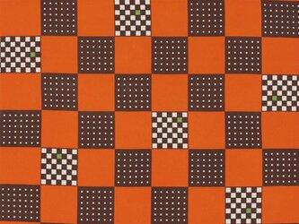 風呂敷 角市松 エコふろしき ポリエステル100% 68cm×68cm オレンジの画像