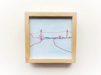 「花曇りの夕方」 イラスト原画 ※木製額縁入りの画像
