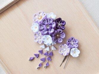 つまみ細工*髪飾り(紫)の画像