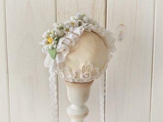 ドール用レースと染め花のヘッドドレス(M・デイジー・ホワイト×グリーン)の画像