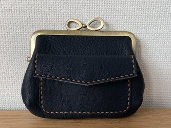 【送料無料】ぱかっと開くとお部屋が3つの親子がまぐち♪外ポッケが付いたリボン口金の四角い本革ミニ財布の画像