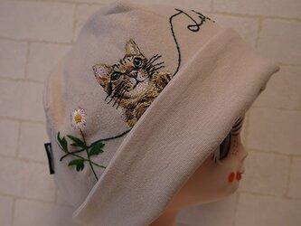 コットン素材スパンフライスニット生地で作ったニット帽(タマちゃんとデイジー)の画像