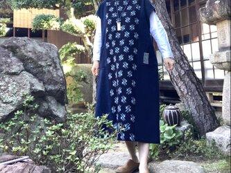 着物リメイク 藍染め絣のジャンバースカート/ボロ/刺し子の画像