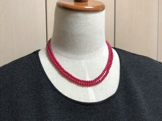 送料込・ローズピンクの上品なネックレス・長さ90㎝の画像