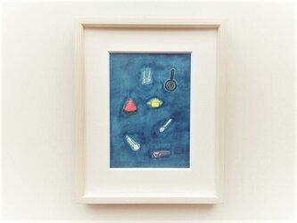 原画「夜のキッチン」 水彩イラスト ※木製額縁入りの画像