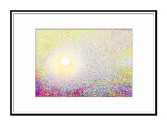 「天と地、そして私」 太陽 空 ほっこり癒しのイラストA4サイズポスター No.796の画像