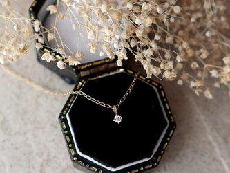 【K18】ダイヤモンドの一粒ネックレス「K18」刻印入り*4月誕生石の画像