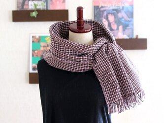 手織りコットンストール 3シーズンチクチクしない ブラウンxローズxホワイト チェック柄の画像