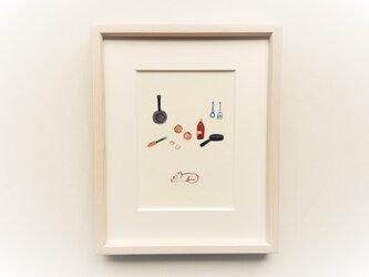 「カレーライスの日」 イラスト原画 ※木製額縁入りの画像