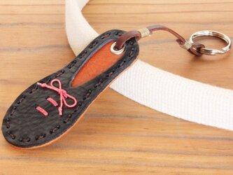 靴型のキーホルダー NV×BR #4-1 (イタリアンレザー)の画像