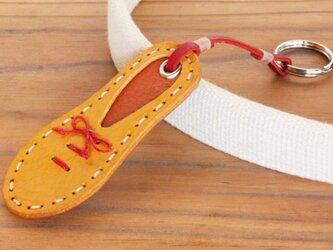 靴型のキーホルダー YL×BR #5-1 (イタリアンレザー)の画像