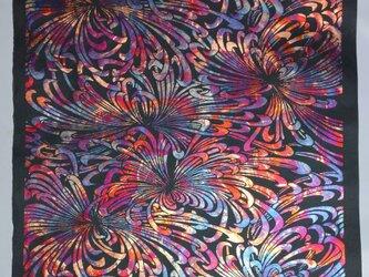 ギルディング和紙 乱菊柄 黒和紙 赤混合箔の画像