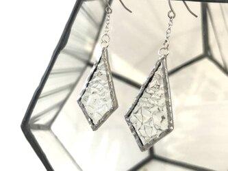 ステンドグラス チタンフックピアス クリアの画像