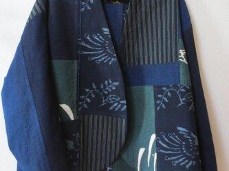 古布リメイク パッチノーカラージャケット 藍染 刺し子 古布 ゆったりサイズの画像