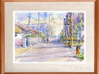 水彩画原画 海の見える踏切・鎌倉稲村ヶ崎付近 #470の画像