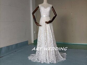 高品質!Vネック レース スレンダー ウエディングドレス 花嫁/ウェディングドレス/ブライズメイド/結婚式/披露宴/の画像