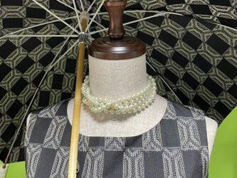大島紬のワンピースドレス&日傘 涼風の画像