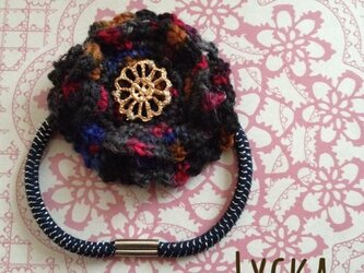 [M様ご予約品]毛糸のお花ゴム◎グレーミックスの画像