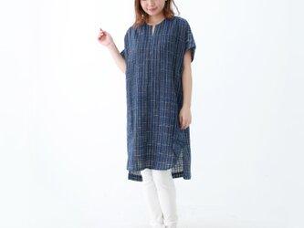 『 Tomo 』 コットン100% 手織り インディゴ染め フレンチスリーブ  チュニック ワンピースの画像