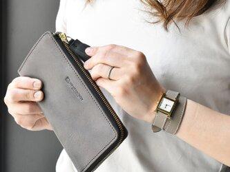 日輪レザー グレージュ 長財布 スキミング防止付き 日本製 本革 名入れ タッセル付き JAW021の画像
