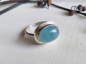 aquamarine silver ringの画像