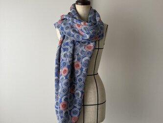 着物ストール ブルー菊の画像