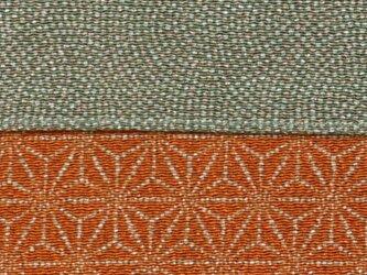 風呂敷 両面染ふろしき 鮫小紋 / 麻型 レーヨン100%  グリーン / 朱 68cmx68cmの画像