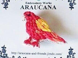 刺繍ブローチ(アカカナリア)の画像