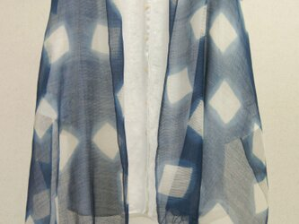 藍の板締めウールシルクスボーダーショールの画像