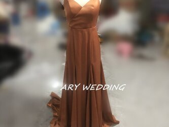カラードレス テラコッタ リボン 前撮り 結婚式 ドレス 二次会の画像