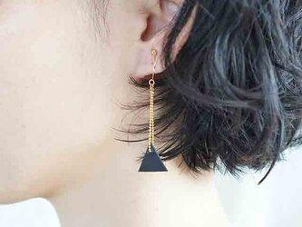 ○30%OFF●即売アイテム●sankaku leathre pierce/earring (black-size/s)の画像