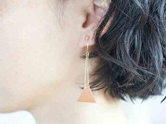 ○30%OFF●即売アイテム●sankaku leathre pierce/earring (camel-size/s)の画像