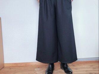 【予約販売】【秋冬】ウールのワイドパンツ  ダークネイビー 9分丈の画像