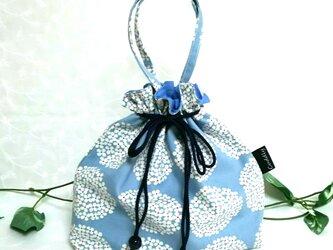 サークルフラワーブルーの巾着バッグの画像