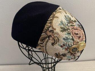 TOPI ゴブラン織りのウールのベレー(ネイビー58〜60)の画像