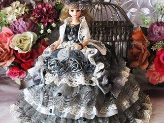 凛 スモーキーグレー魅惑のプリンセスドレス ショール付き豪華5点セットの画像