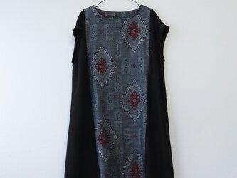 *アンティーク着物*菱模様藍大島紬のフレンチスリーブワンピース(短め丈・ゆったりサイズ)の画像