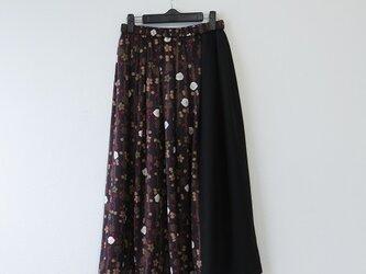 *アンティーク着物*花模様絞り着物のパッチスカート(裏地付き)の画像