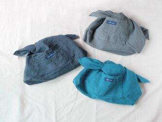 あづま袋型・かごバッグ用インナーバッグ【スチールブルー】の画像