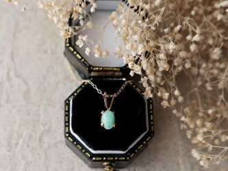 【K10】エメラルドの一粒ネックレス(ミルキーグリーンカラー)オーバル*5月誕生石の画像
