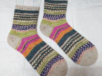 手編み靴下 opal 2107の画像