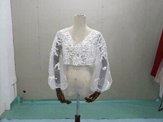 ウエディングドレス ボレロ 3D立体レース刺繍 Vネックドレス 長袖  結婚式/披露宴の画像
