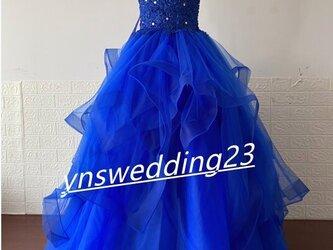 カラードレス 青/ブルー ソフトチュール ベアトップ ビジュー プリンセスライン 美品! イブニングドレスの画像