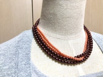 送料込・オレンジチョコレートなパールのネックレス・長さ90㎝・2本セットの画像