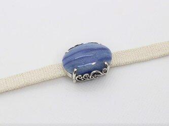 ブルーアベンチュリンの帯留め「波濤~billow~」の画像