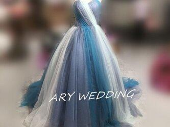 高品質! ベアトップ カラードレス 水色 プリンセスライン 花嫁/ウェディンの画像