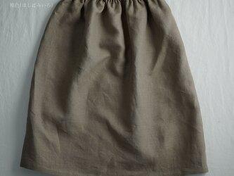 雅亜麻 Linen ロングペチスカート 膝丈 インナーにも / 榛色(はしばみいろ) p002b-hbm1の画像