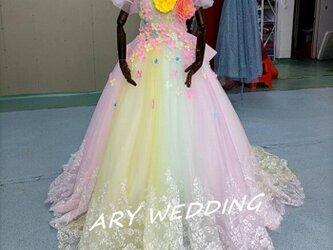 高品質! レインボースカート ベアトップカラードレス ウエディングドレス  プリンセスライン 憧れのドレの画像