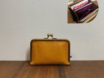 イタリアンレザー コンパクトカードがま口財布◆イエローブラウンの画像